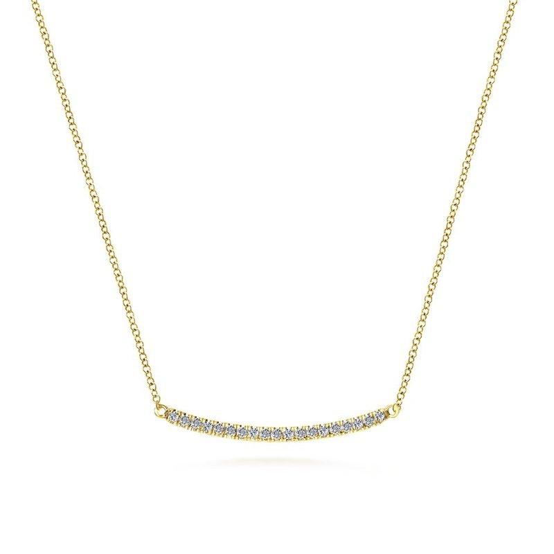 Gabriel Fashion 14K Yellow Gold Diamond Pavé Curved Bar Necklace