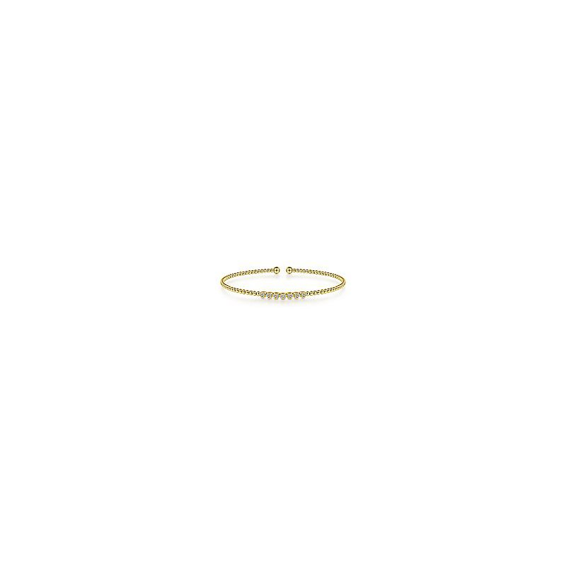 Gabriel Fashion 14K Yellow Gold Bujukan Bead Cuff Bracelet with Cluster Diamond Stations