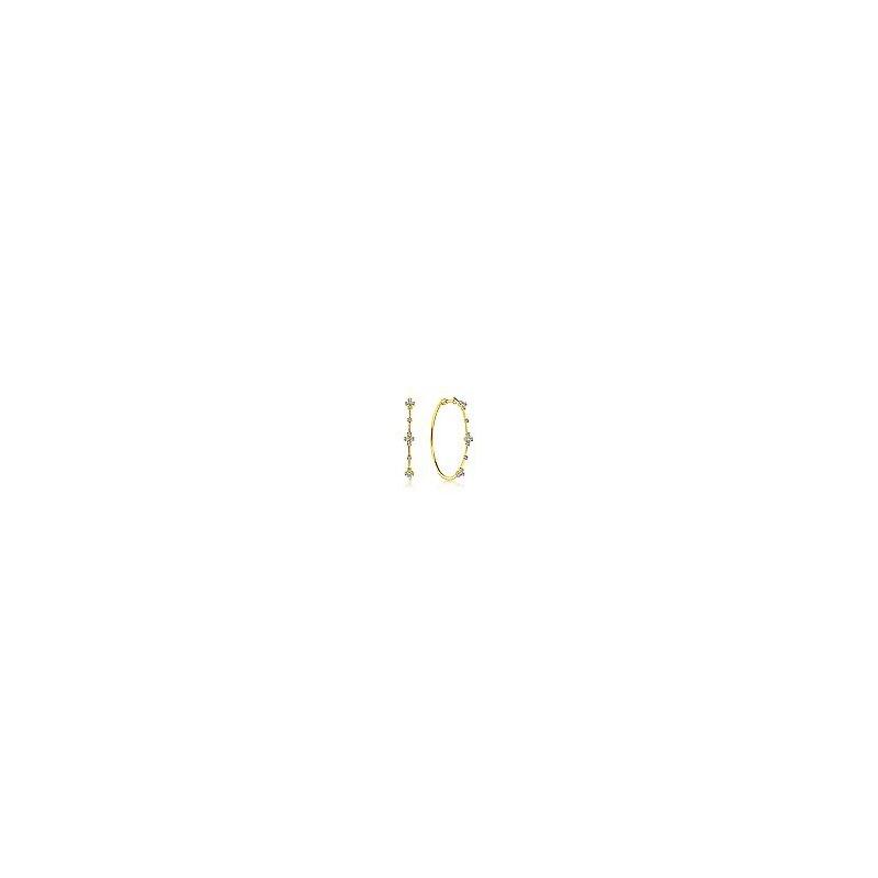Gabriel Fashion 14K Yellow Gold Prong Set 40mm Round Classic Diamond Hoop Earrings