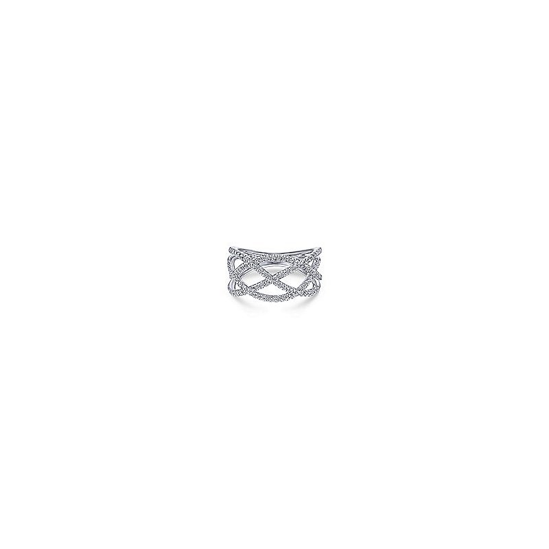 Gabriel Fashion 14K White Gold Layered Grid Diamond Ring