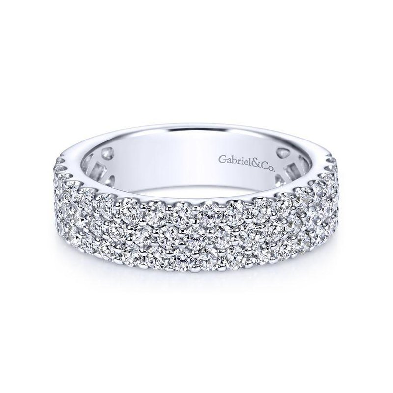 Gabriel Bridal Wide 14K White Gold Prong Set Diamond Anniversary Band