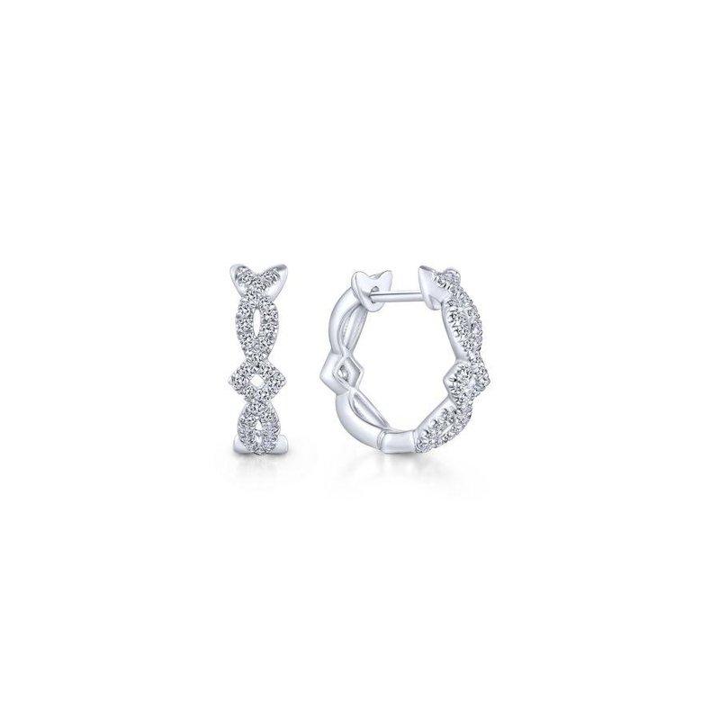 Gabriel Fashion 14K White Gold Twisted 10mm Diamond Huggie Earrings