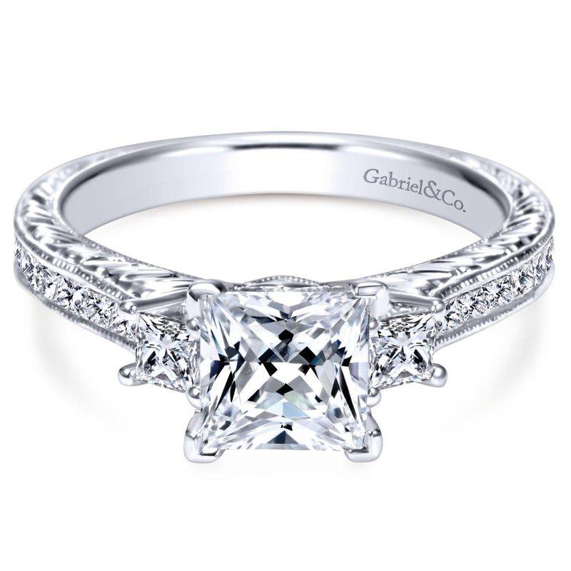 Gabriel Bridal Vintage Inspired 14K White Gold Princess Cut Three Stone Diamond Engagement Ring