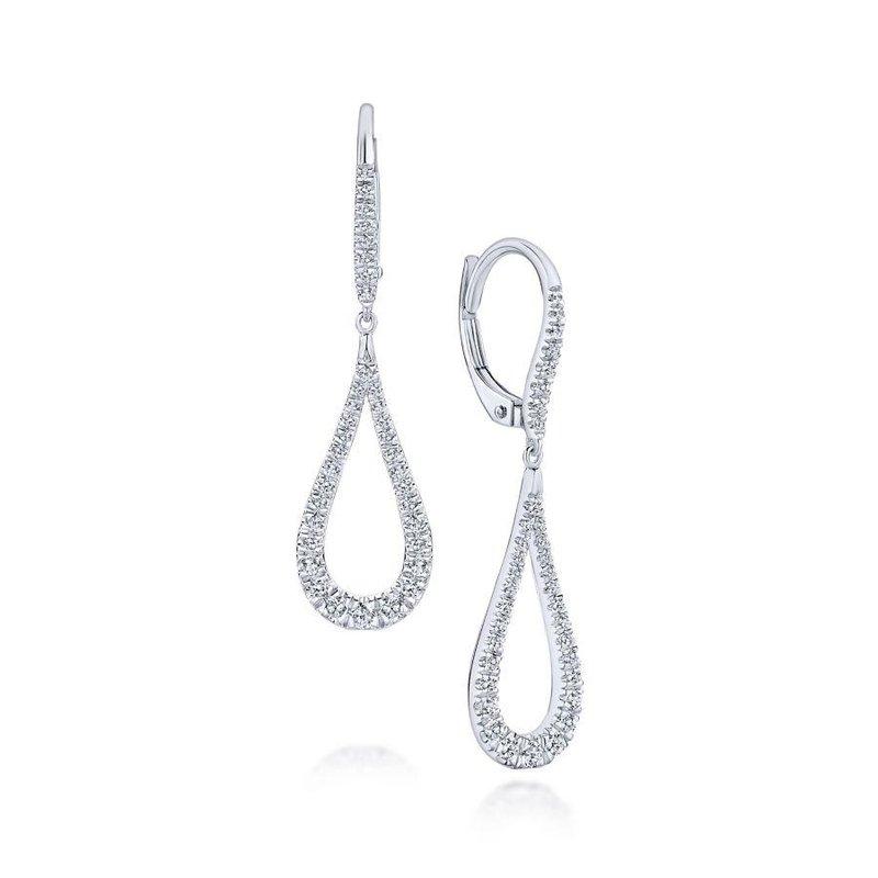 Gabriel Fashion 14K White Gold Contoured Pear Shaped Diamond Drop Earrings