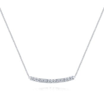 14K White Gold Round and Baguette Diamond Curved Bar Necklace