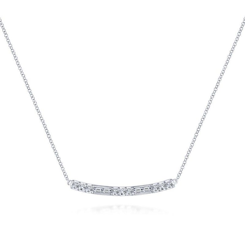 Gabriel Fashion 14K White Gold Round and Baguette Diamond Curved Bar Necklace
