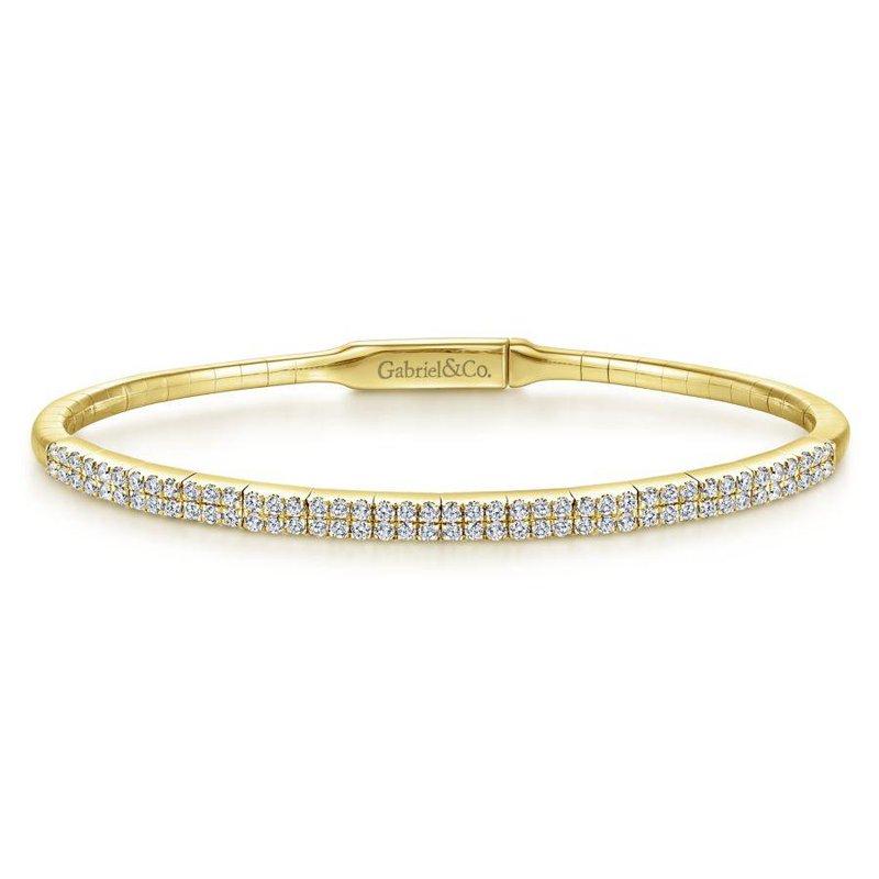 Gabriel Fashion 14K Yellow Gold Two Row Diamond Bangle