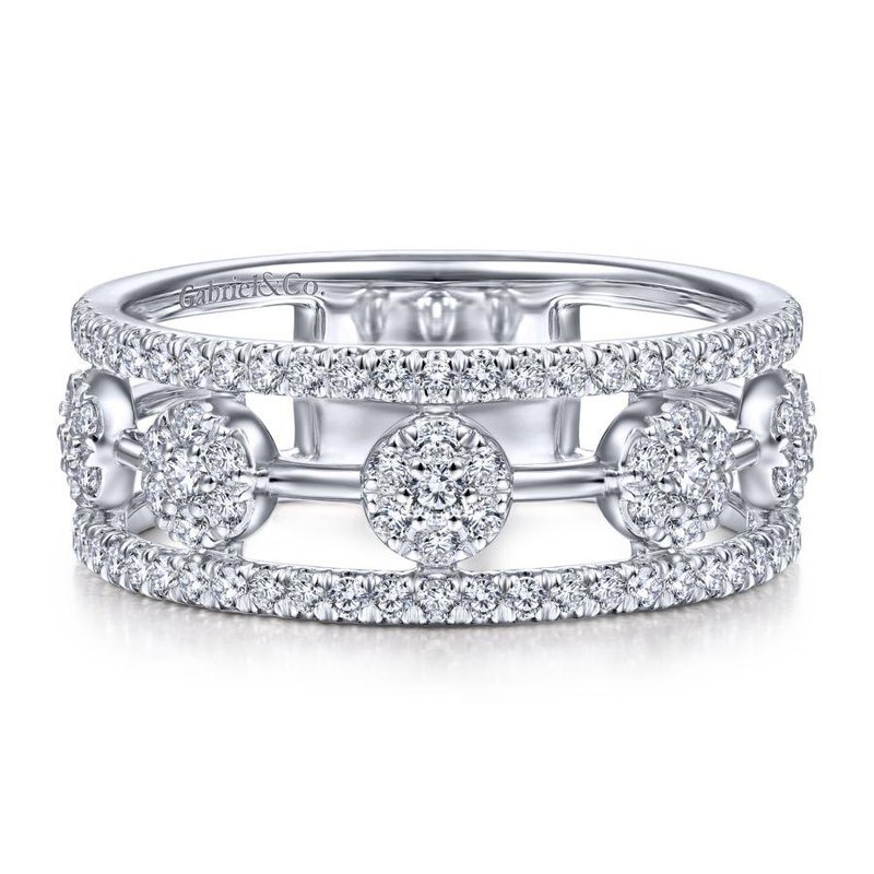 Gabriel Fashion 14K White Gold Round Diamond Station Ring