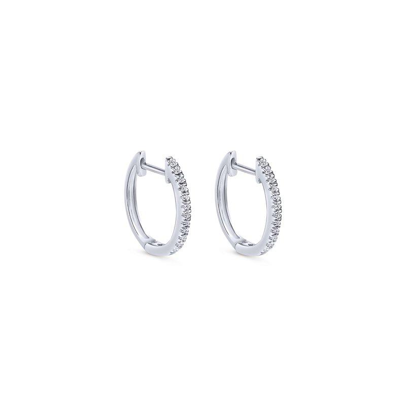 Gabriel Fashion 14K White Gold Classic 10mm Pavé Diamond Huggie Earrings