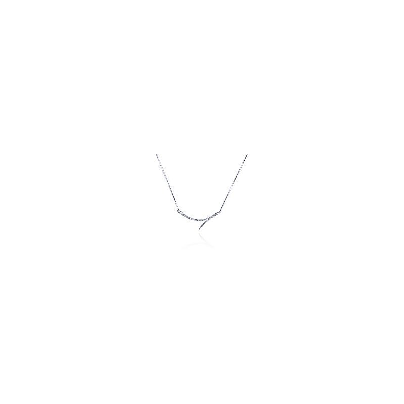 Gabriel Fashion 14K White Gold Curved Bypass Bar Necklace with Diamonds