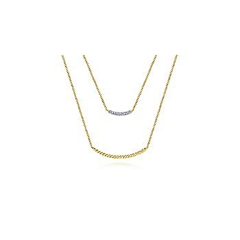 14K Yellow Gold Two Strand Twisted and Diamond Bar Necklace
