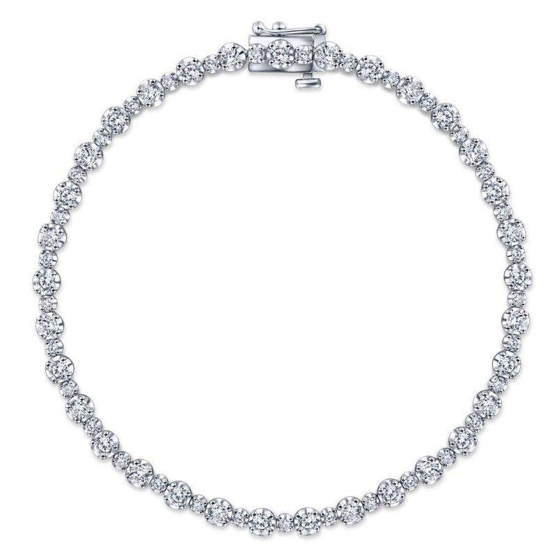 Gabriel Fashion 14K White Gold Buttercup Set Diamond Tennis Bracelet