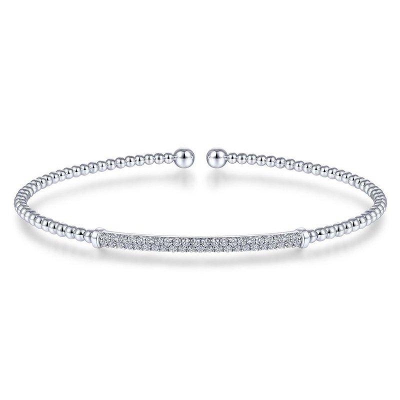 Gabriel Fashion 14K White Gold Bujukan Split Cuff Bracelet with Diamond Pavé Bar