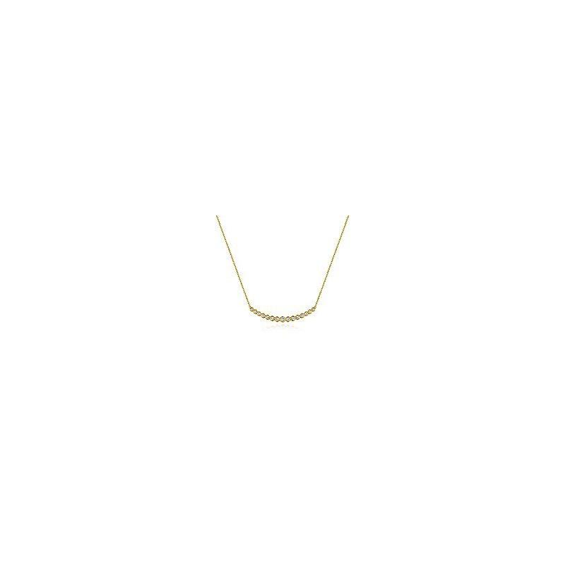 Gabriel Fashion 14K Yellow Gold Curved Bar Necklace with Bezel Set Round Diamonds