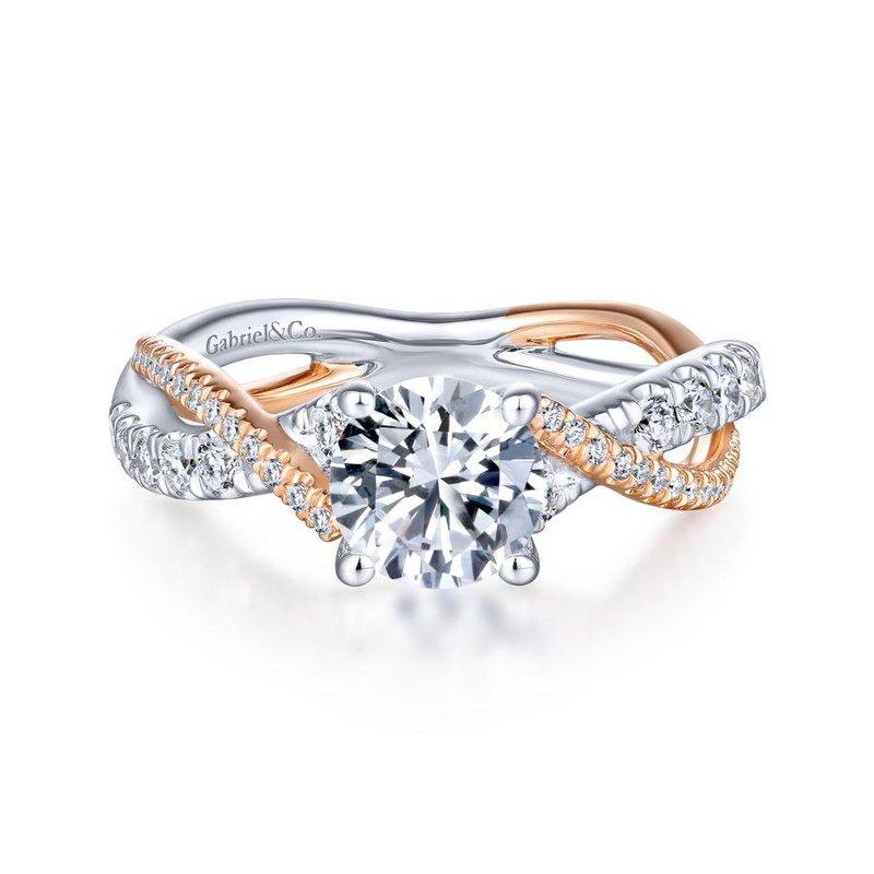 Gabriel Bridal 14K White-Rose Gold Round Diamond Twisted Engagement Ring