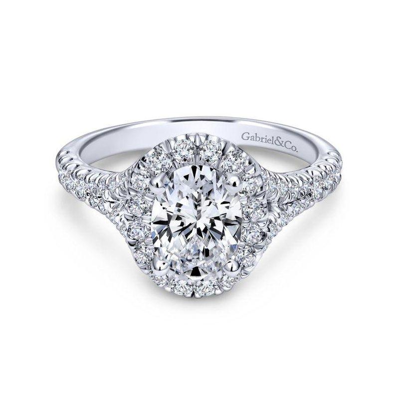 Gabriel Bridal 14K White Gold Oval Halo Diamond Engagement Ring