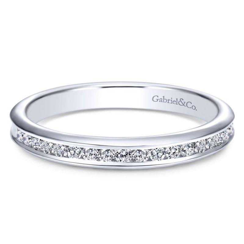 Gabriel Bridal 14K White Gold Channel Set Diamond Wedding Band