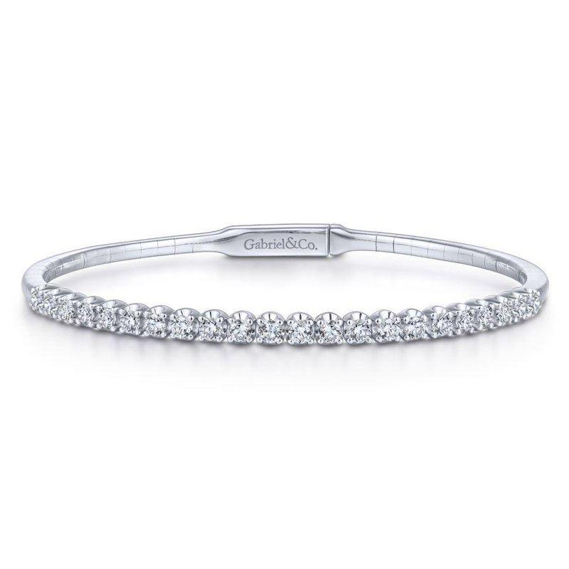Gabriel Fashion 14K White Gold Diamond Bangle
