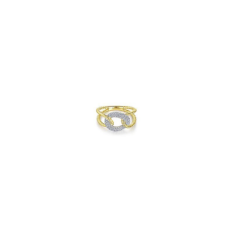 Gabriel Fashion 14K Yellow and White Gold Twisted Rope Link Ring with Diamond Pavé Station