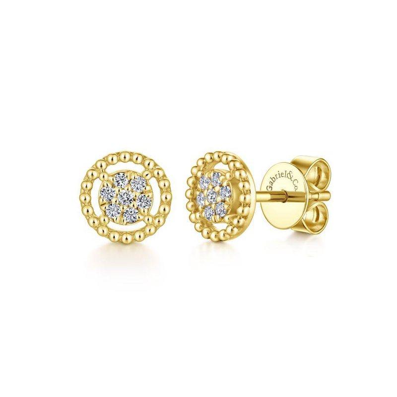 Gabriel Fashion 14K Yellow Gold Beaded Round Frame Diamond Cluster Stud Earrings