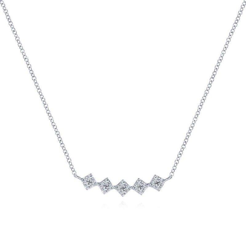 Gabriel Fashion 14K White Gold Square Station Diamond Pavé Curved Bar Necklace