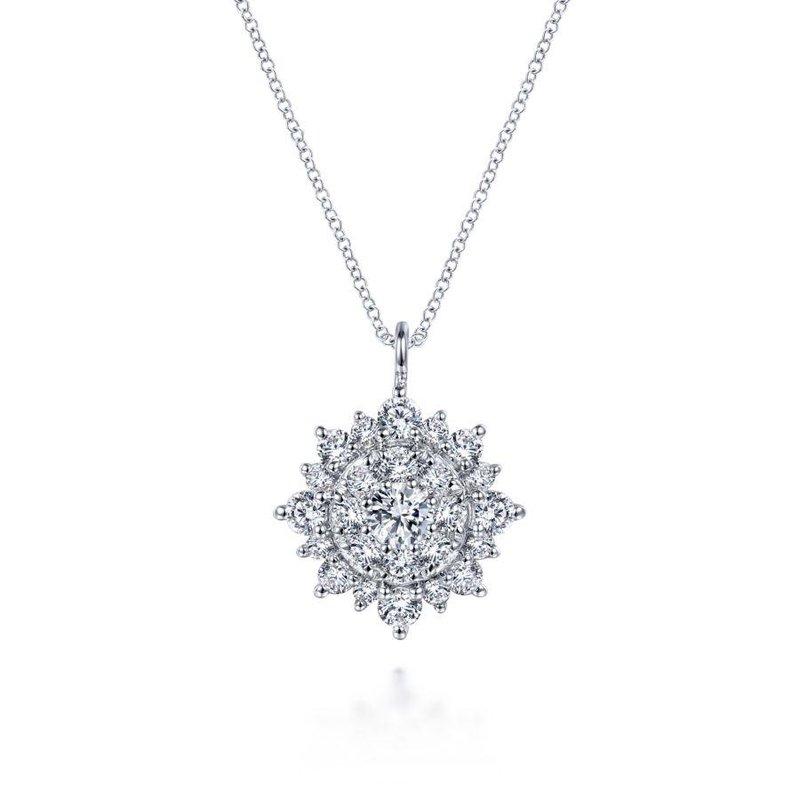 Gabriel Fashion 14K White Gold Diamond Cluster Pendant Necklace