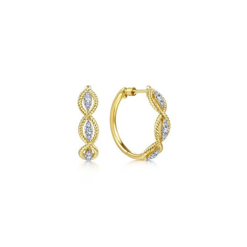 Gabriel Fashion 14K Yellow Gold Twisted Layered 20mm Diamond Hoop Earrings