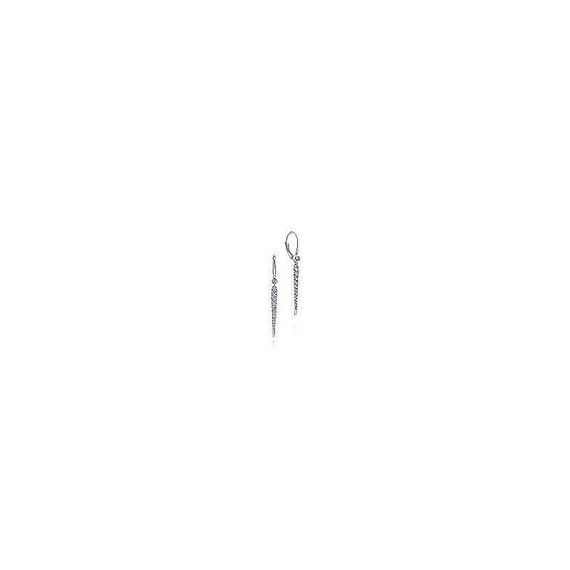 Gabriel Fashion 14K White Gold Peek A Boo Spike Diamond Earrings