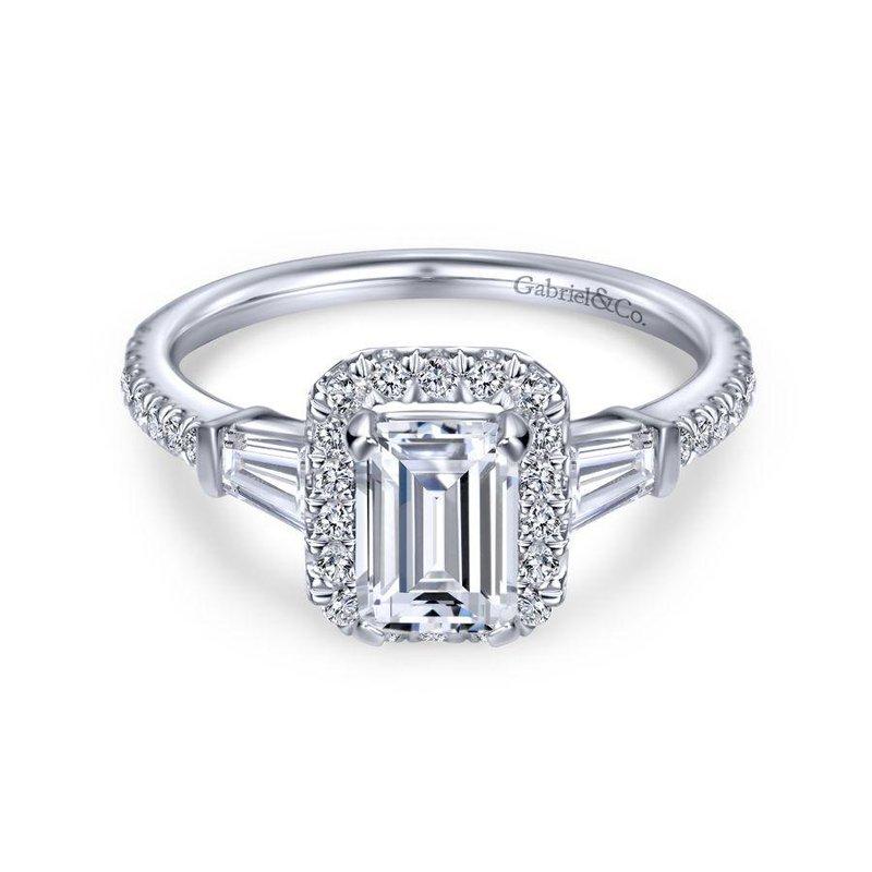 Gabriel Bridal 14K White Gold Emerald Halo Diamond Engagement Ring