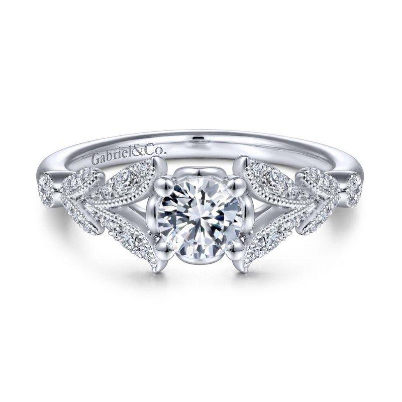 Gabriel Bridal Vintage Inspired 14K White Gold Split Shank Round Diamond Engagement Ring