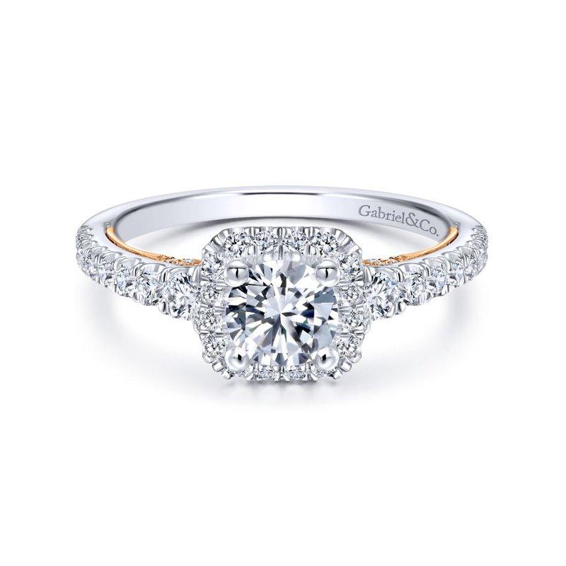 Gabriel Bridal 14K White-Rose Gold Round Halo Diamond Engagement Ring