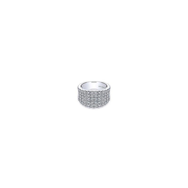 Gabriel Fashion 14K White Gold Wide Band Pavé Diamond Ring