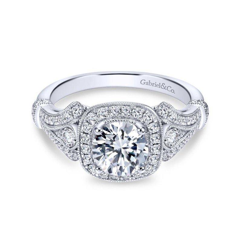 Gabriel Bridal Vintage Inspired 14K White Gold Cushion Halo Round Diamond Engagement Ring