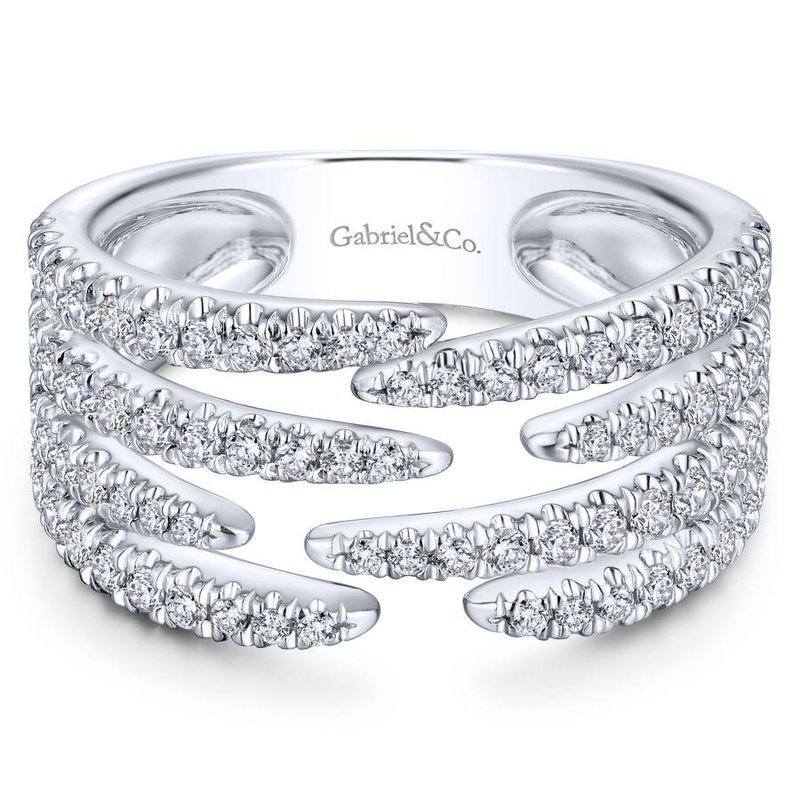 Gabriel Fashion 14K White Gold Open Wide Band Pavé Diamond Ring