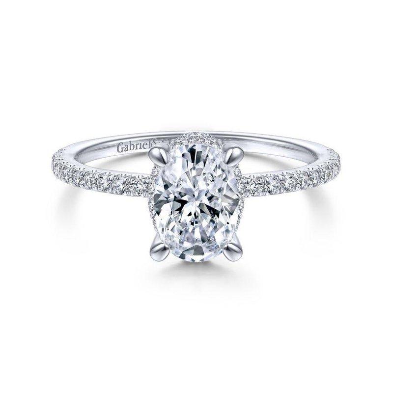 Gabriel Bridal 14K White Gold Hidden Halo Oval Diamond Engagement Ring