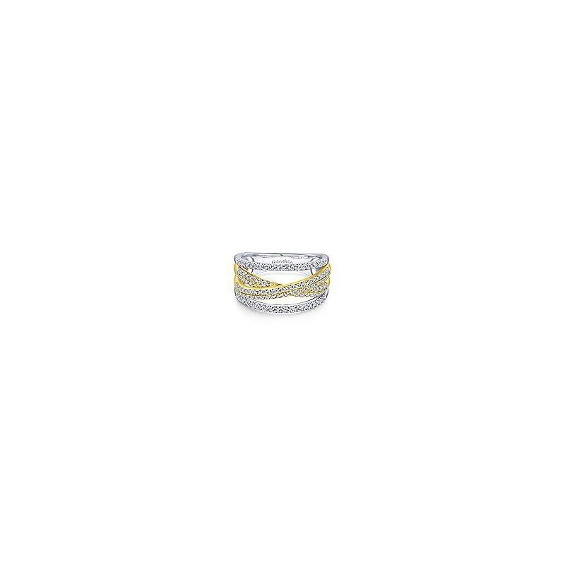 Gabriel Fashion 14K Yellow and White Gold Criss Crossing Multi Row Diamond Ring
