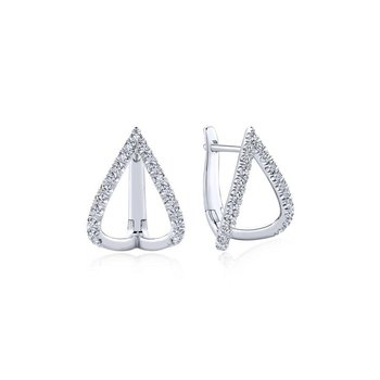 14k White Gold 15mm Inverted V Diamond Huggie Earrings