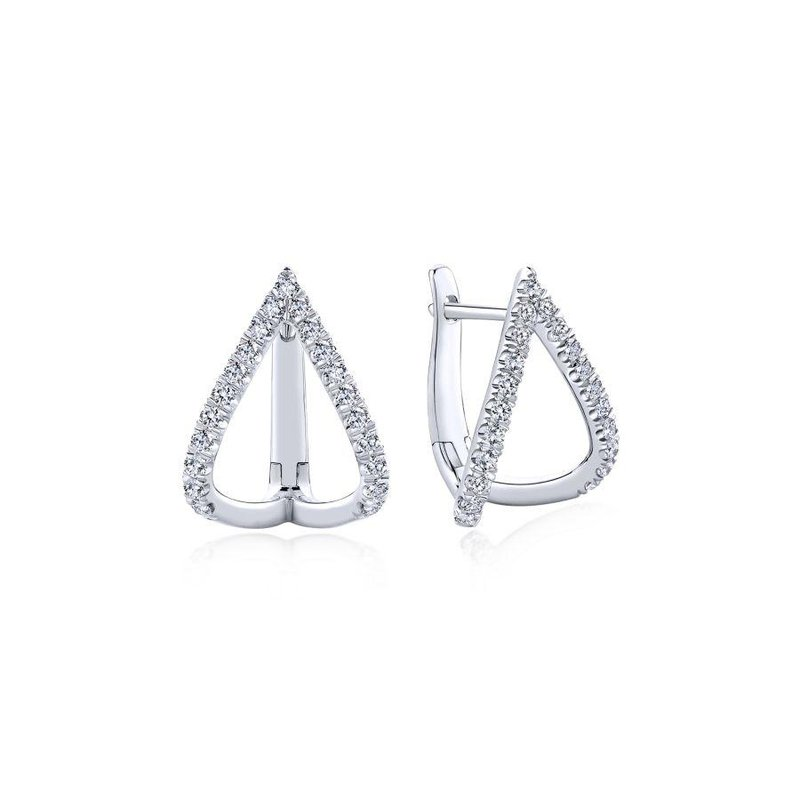 Gabriel Fashion 14k White Gold 15mm Inverted V Diamond Huggie Earrings