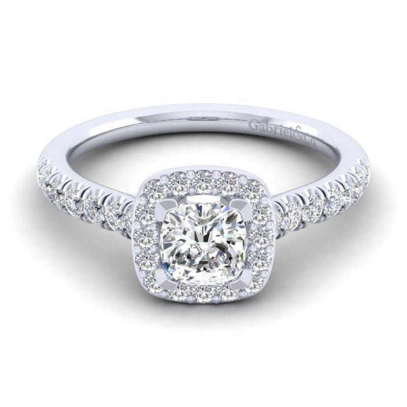 Gabriel Bridal 14K White Gold Cushion Halo Diamond Engagement Ring