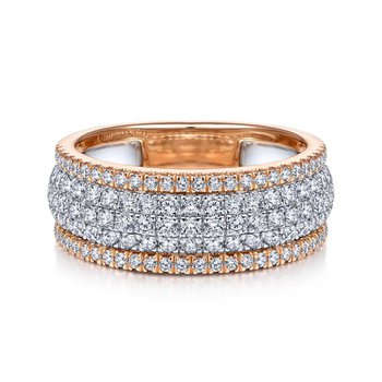 14K WhiteRose Gold Pavé Diamond Ring
