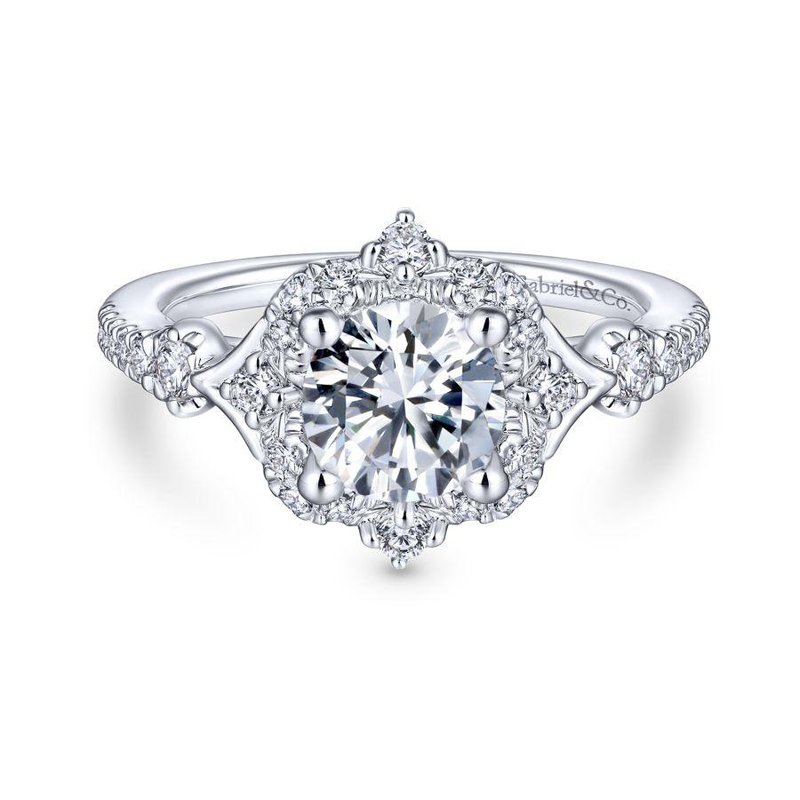 Gabriel Bridal Unique 14K White Gold Vintage Inspired Halo Diamond Engagement Ring