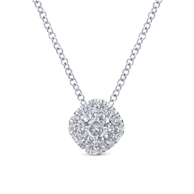 Gabriel Fashion 14K White Gold Diamond Pavé Cushion Pendant Necklace