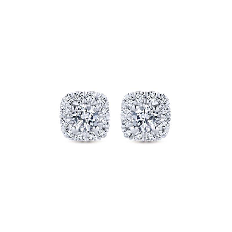 Gabriel Fashion 14K White Gold Cushion Halo Round Diamond Stud Earrings
