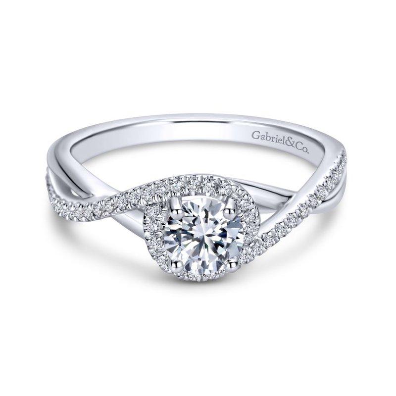 Gabriel Bridal 14K White Gold Round Twisted Diamond Engagement Ring