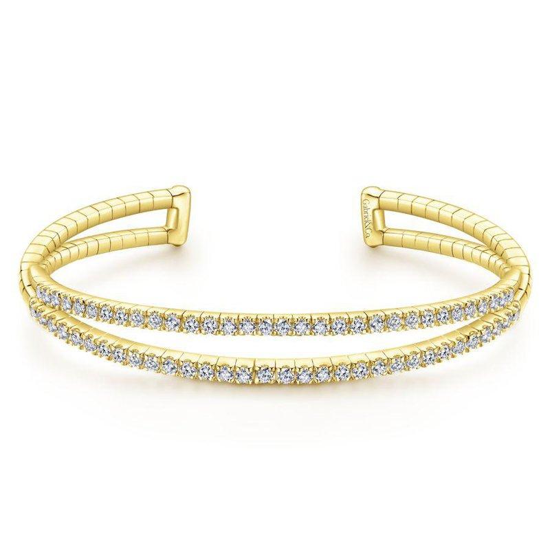 Gabriel Fashion 14K Yellow Gold Split Diamond Cuff