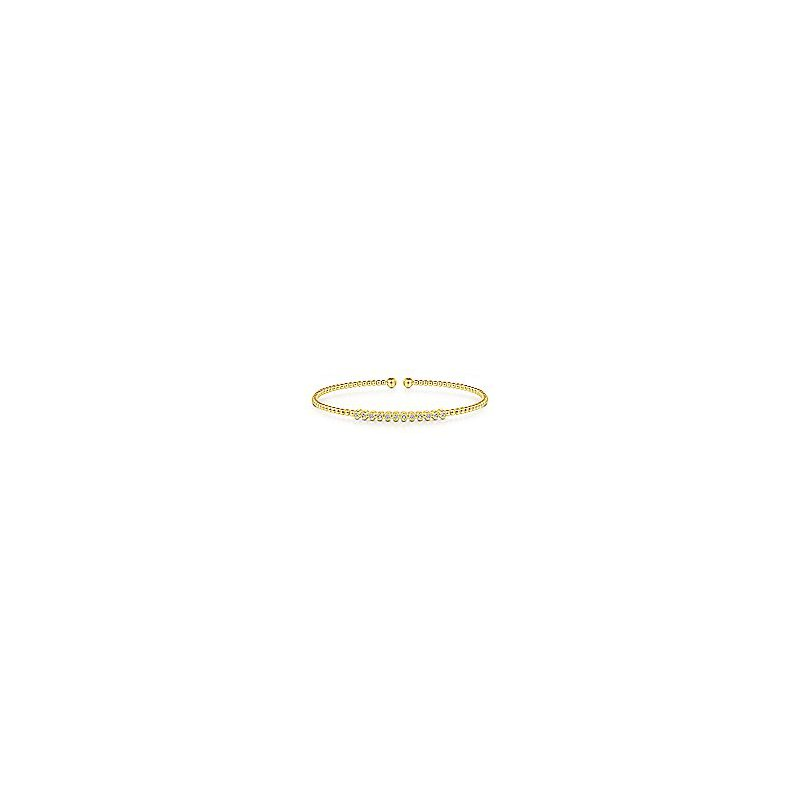 Gabriel Fashion 14K Yellow Gold Bujukan Bead Cuff Bracelet with Bezel Set Diamond Stations