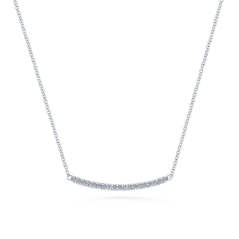 Gabriel Fashion 14K White Gold Diamond Pavé Curved Bar Necklace