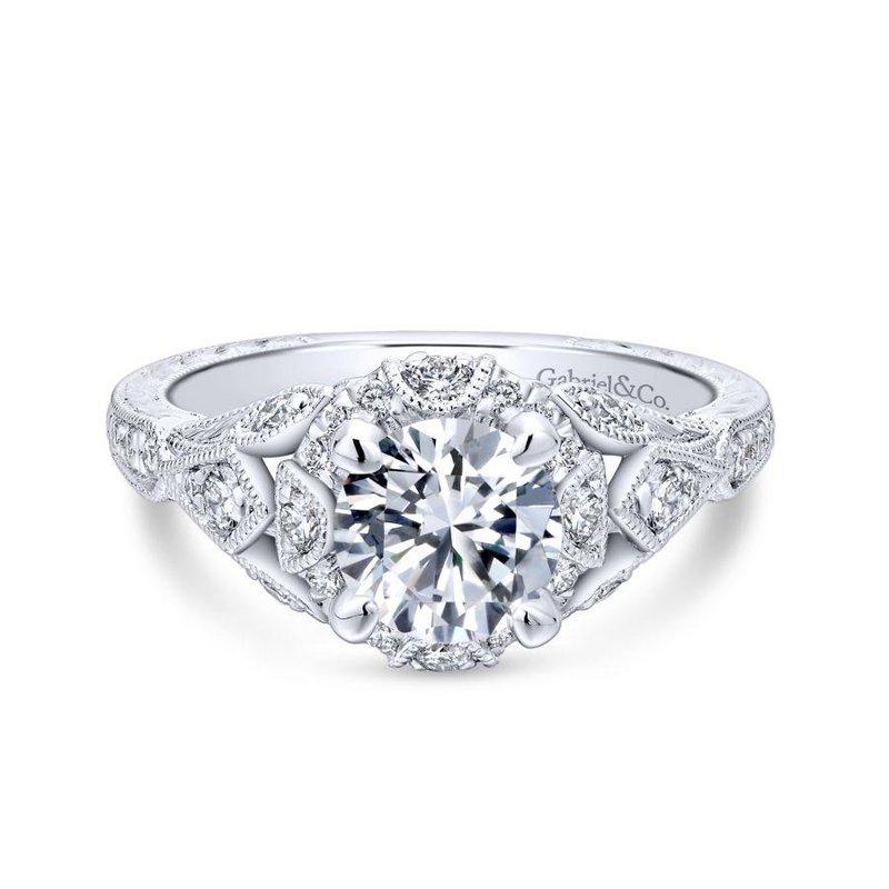 Gabriel Bridal Unique 14K White Gold Vintage Inspired Diamond Halo Engagement Ring