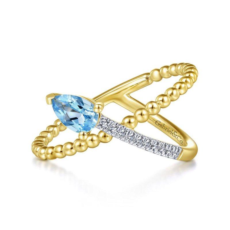 Gabriel Fashion 14K Yellow Gold Pear Shape Blue Topaz and Diamond Criss Cross Ring