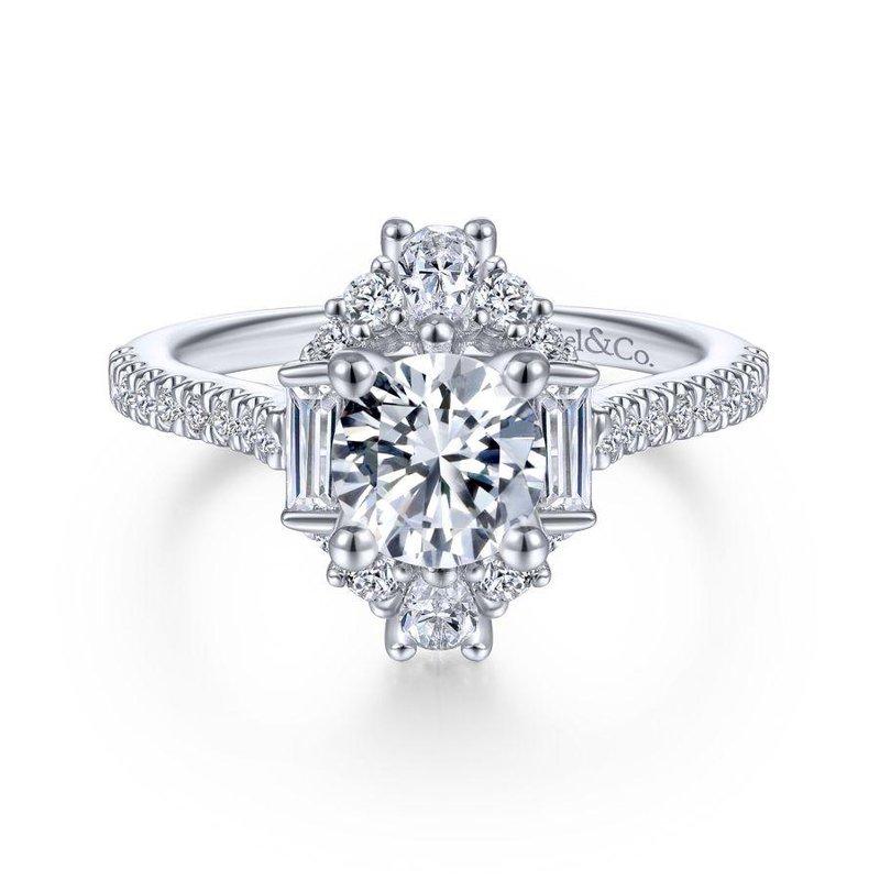 Gabriel Bridal Unique 14K White Gold Art Deco Halo Diamond Engagement Ring